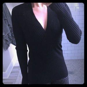V-neck ribbed sweater